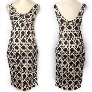 DVF Vintage Fran Brown White Geometric Silk Dress